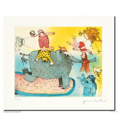 Janosch / handsigniert / Der Elefant steht hier im Licht, doch seinen Kummer sieht man nicht